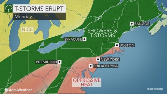 Oppressive heat and humidity is in Monday's forecast, along with thunderstorms.