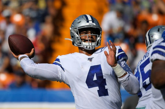 Dallas Cowboys quarterback Dak Prescott throws a pass during the first half of the team's preseason NFL football game against the Los Angeles Rams on Saturday, Aug. 17, 2019, in Honolulu. (AP Photo/Mark J. Terrill)