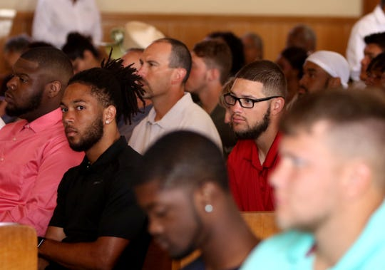Midwestern State football players listen to during church service Saturday, Aug. 18, 2019, at Mt Pleasant Baptist Church.