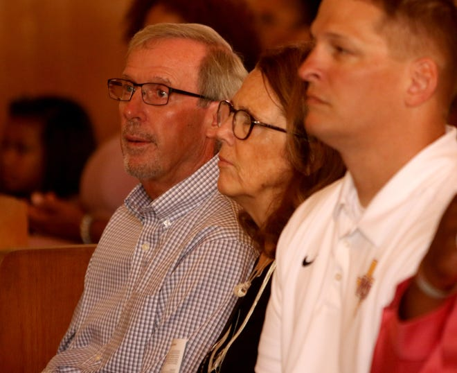 Midwestern State head football coach Bill Maskill listens to the choir sing during church service Saturday, Aug. 18, 2019, at Mt Pleasant Baptist Church.