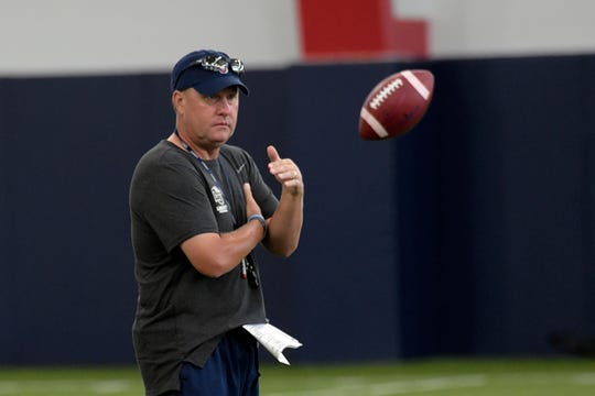Liberty head coach Hugh Freeze attends an NCAA college football practice in Lynchburg, Va.