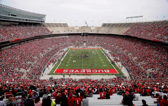 Over 60,000 fans attend Ohio State's spring game at Ohio Stadium.