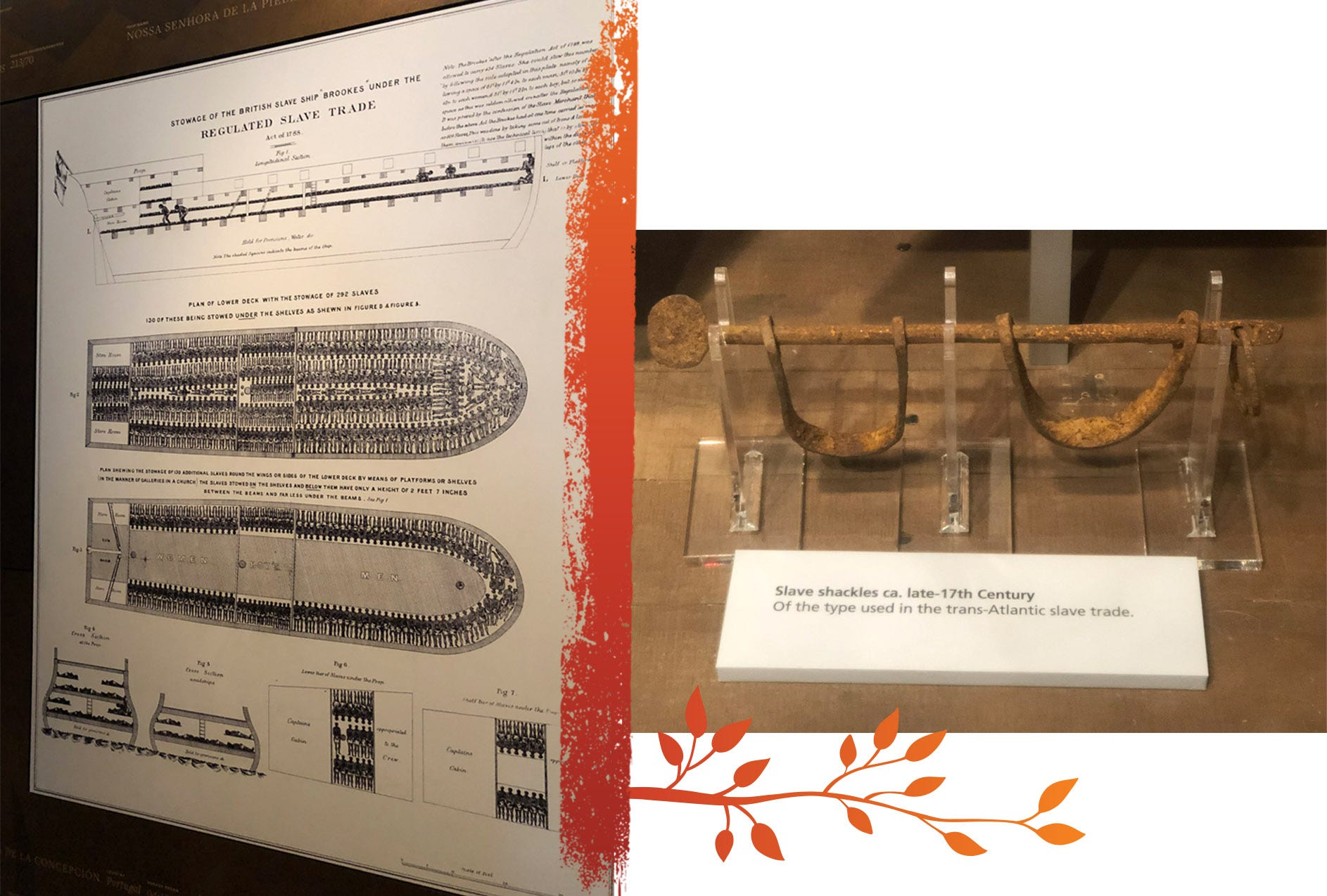 Left, a historic illustration of the Brookes slave ship, on display at the Smithsonian National Museum of African American History and Culture. The image shows the human cargo packed in accordance with government regulations outlined in the Regulated Slave Trade Act of 1788. Right, slave shackles from the late 17th century on display at the Hampton History Museum in Hampton, Virginia.