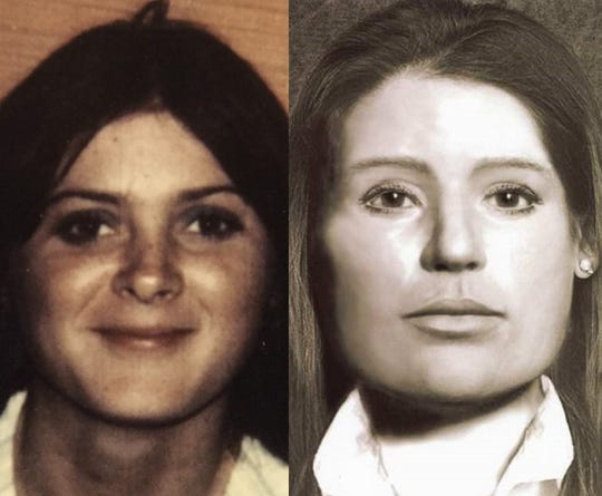 Donna Brazzell (left) and a reconstruction of her face released before she was positively identified in July.