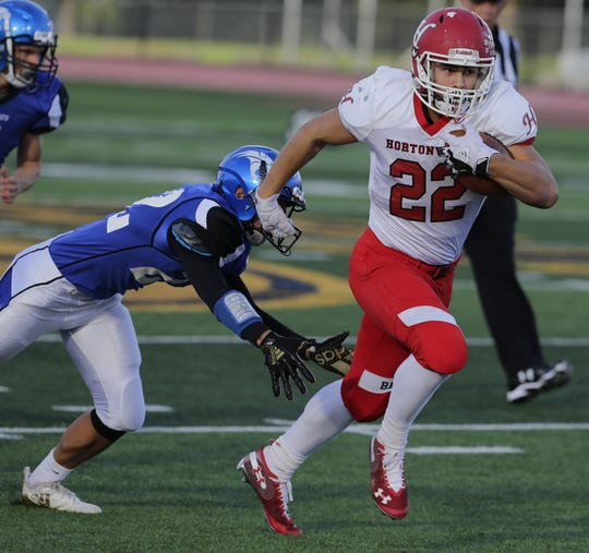 Hortonville's Jose Concepcion runs away from an Oshkosh West defender during their game at Titan Stadium in Oshkosh on Sept. 21, 2018.