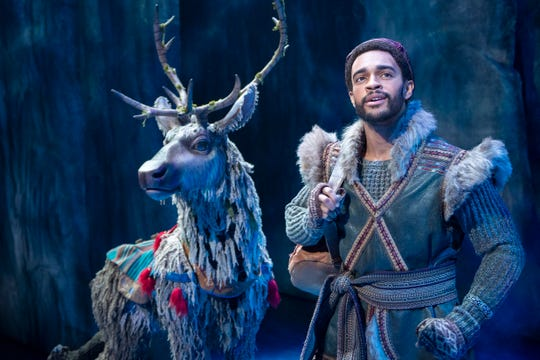 "Adam Jepsen as Sven and Noah J. Ricketts as Kristoff in ""Frozen"" in Broadway."