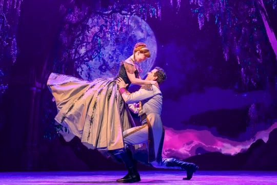 "Patti Murin as  Anna and Joe Caroll as Hans in ""Frozen"" on Broadway."