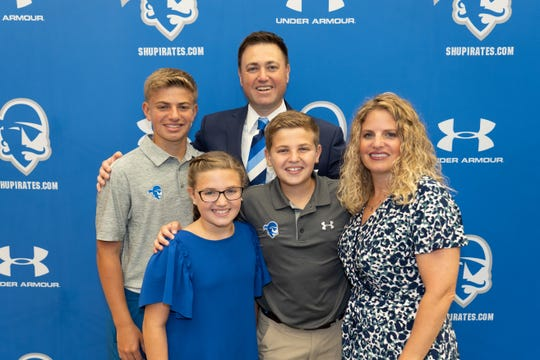 Bryan Felt with wife and fellow Seton Hall alum Tara and their three children.