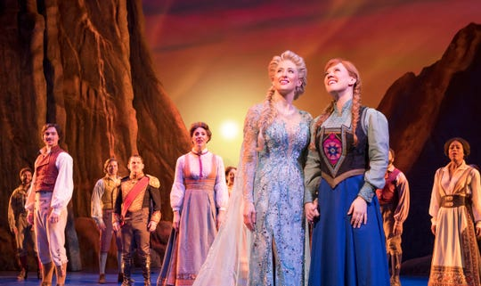 "Caissie Levy as Elsa, Patti Murin as Anna and the company of ""Frozen"" on Broadway."