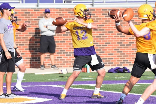 Hardin-Simmons quarterback Brennen Wooten (12) was part of a six-man quarterback battle this offseason. Wooten won the job against three returning and two other transfer signal-callers. The former TCU, Tyler JC and Louisiana-Monroe quarterback will make his first start for the Cowboys in Alpine against Sul Ross State on Saturday at 6 p.m.