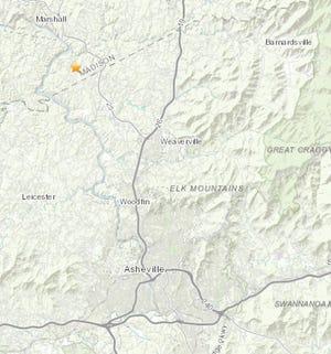 An earthquake was reported Aug. 18 southeast of Marshall, North Carolina.