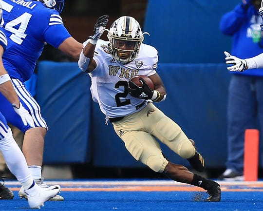 Western Michigan Broncos running back LeVante Bellamy (2) runs for gain during the second half against the Brigham Young Cougars during the  2018 Potato Bowl at Albertsons Stadium.