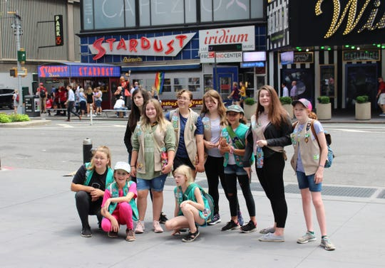 Members of Black Mountain Girl Scout Troop 02498  enjoyed lunch at Ellen's Stardust Diner in Midtown Manhattan during their four-day trip to New York City. The second day of their trip included a workshop with Broadway actors and choreographers, lunch at the diner and a Broadway Show.