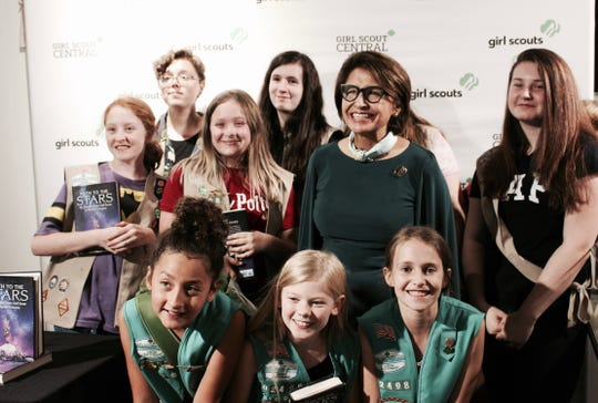Cadettes and Seniors from Black Mountain Girl Scouts Troop 02498 meet Sylvia Acevedo, the CEO of Girl Scouts of the USA, on their trip to New York City in early August.