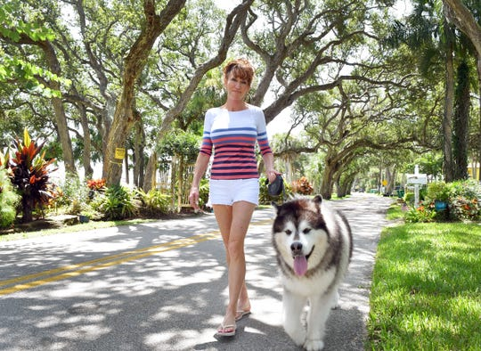 Rockledge Drive resident Michelle Maricic, walks her malamute, Fozzie Bear, along the scenic road. Maricic has lived with her husband, Bill, on this river road for about 28 years. They would like to see the old oak trees preserved, rather than some being cut down, as the county plans, because of safety concerns.