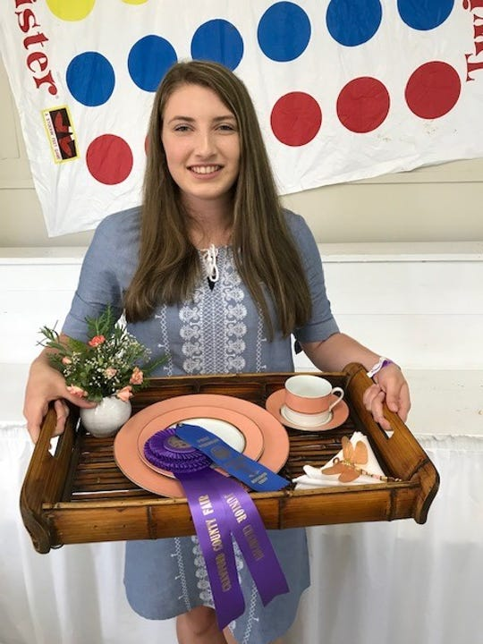 Clareese Prenger, a member of Nuts About Nature Junior Gardening Club, received the 2019 Junior Excellence Award for this luncheon tray entered in the Crawford County Fair flower show. Norton's Flowers was the sponsor for this award.