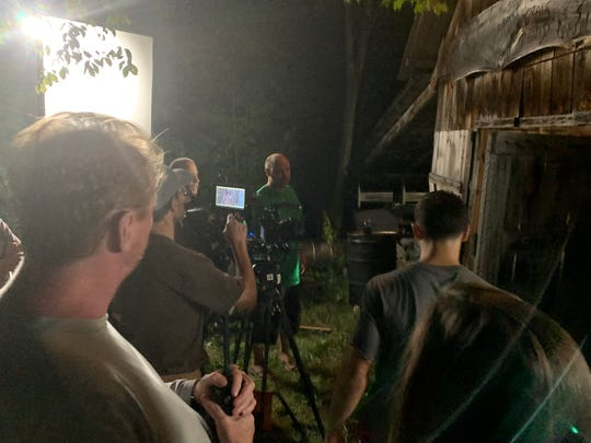 "Crews from Verde Group Films shoot scenes for the pilot of a show called ""Zodiac"" at Plouffe Farm in Charlotte in August 2019."
