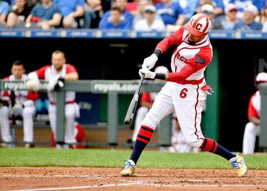 Jun 23, 2019; Kansas City, MO, USA; Kansas City Royals center fielder Billy Hamilton (6) hits a single in the third inning against the Minnesota Twins at Kauffman Stadium.