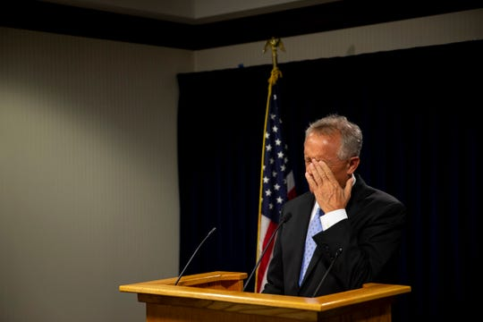 Hamilton County Prosecutor Joe Deters holds a press conference Monday, August 19, 2019 in the Hamilton County Prosecutor's office in downtown Cincinnati to announce that Rev. Geoff Drew was charged with raping an altar boy 20 years ago while serving as a music minister at St. Jude's parish in Bridgetown.