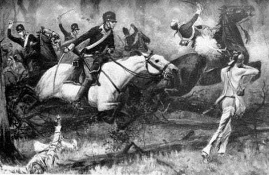 An 1896 depiction of the Battle of Fallen Timbers from Harper's Magazine.