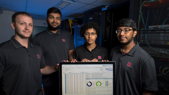 Rutgers students Mathew Benitez, Jason Jacob, Casandra Begin and Manav Patel learned the ropes of cybersecurity this summer through OmniSOC.