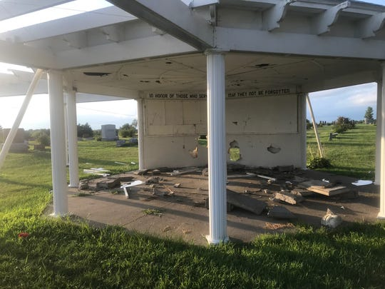Evidence of damage done to an Iowa veterans memorial at the Leon Cemetery in August 2019.