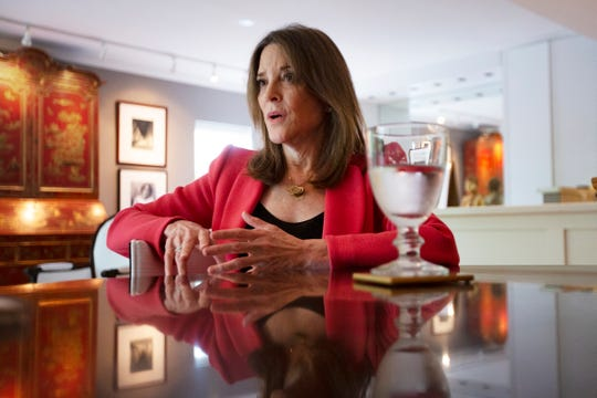 "Author and 2020 Democratic candidate Marianne Williamson speaks with the Register on her Department of Peace proposal on August 19. ""Desperate people do desperate things. Large groups of desperate people become more vulnerable to ideological capture by genuinely psychotic forces,"" Williamson said. ""Policy should be guided by a core value of helping people thrive."""