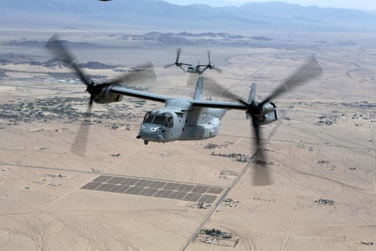 The Marines V-22 Osprey Demo Flight Team will fly aircraft during the Central Iowa Airshow in Ankeny Friday through Sunday.