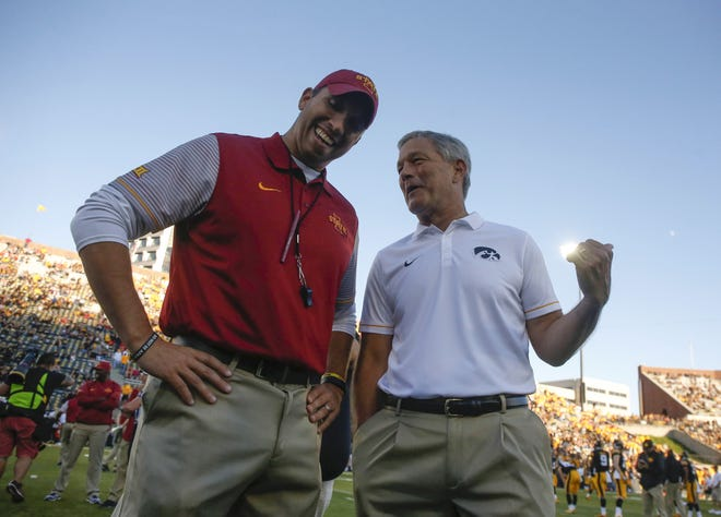 Iowa State and Matt Campbell are ranked 21st in The Associated Press 2019 preseason football poll. Iowa and Kirk Ferentz come in at No. 20.