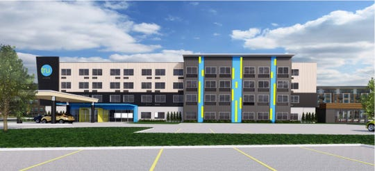 A 98-room Tru by Hilton is proposed for the Gray's Landing development on the southern edge of downtown Des Moines.