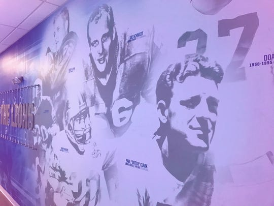 A look at one of the walls in the Lions locker room in Allen Park.
