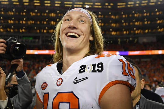 Trevor Lawrence after Clemson's 44-16 win over Alabama in the national championship game Jan. 7, 2019 in Santa Clara, Calif.