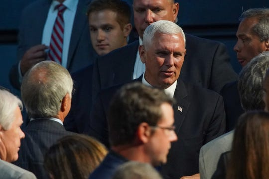 Vice President Mike Pence speaks to the Detroit Economic Club on Monday, August 19, 2019 at the Motor City Casino Sound Board.