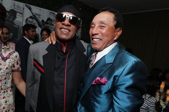 """(L-R): Stevie Wonder and Smokey Robinson at the """"Hitsville: The Making of Motown"""" premiere event. The red carpet and screening were held at the Harmony Gold Theater followed by an after-party at Fig & Olive in Los Angeles, CA on August 8, 2019."""