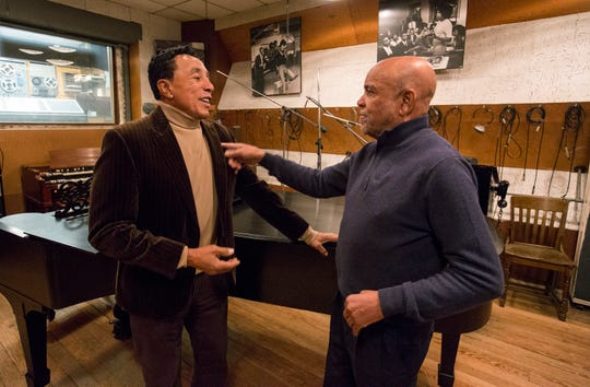 """(L-R): Smokey Robinson and Berry Gordy in """"Hitsville: The Making of Motown."""""""