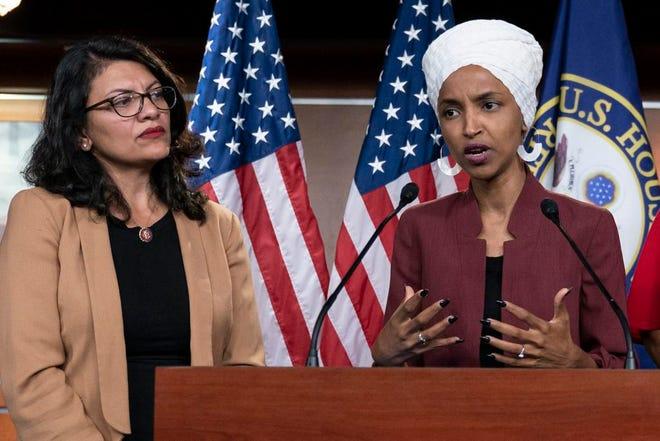 U.S. Rep. Rashida Tlaib, D-Mich., and U.S. Rep. Ilhan Omar, D-Minn.