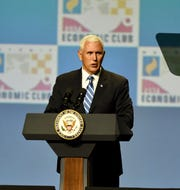 Vice-President Mike Pence addresses the Detroit Economic Club in Detroit, Monday