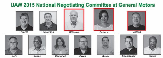 UAW President Dennis Williams, Vice President Cindy Estrada and her assistant, Mike Grimes, served on the 2015 negotiating team.