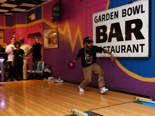 Big Sean bowls at a D.O.N. bowling party hosted by Big Sean at the Garden Bowl in Detroit on Aug. 18, 2019.