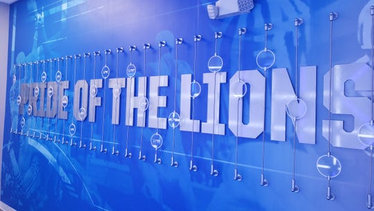 The hallway leading to the Lions locker room is shown.
