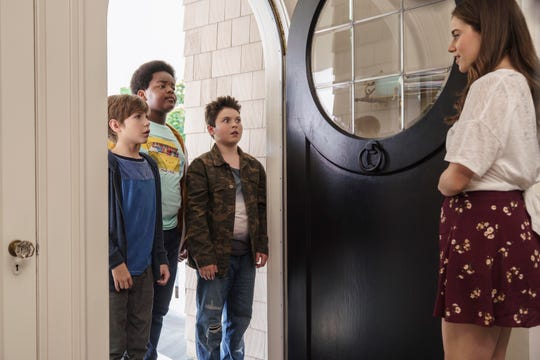 "Jacob Tremblay, from left, as Max, Keith L. Williams as Lucas, Brady Noon as Thor and Molly Gordon as Hannah in the film, ""Good Boys,"" written by Lee Eisenberg and Gene Stupnitsky and directed by Stupnitsky."