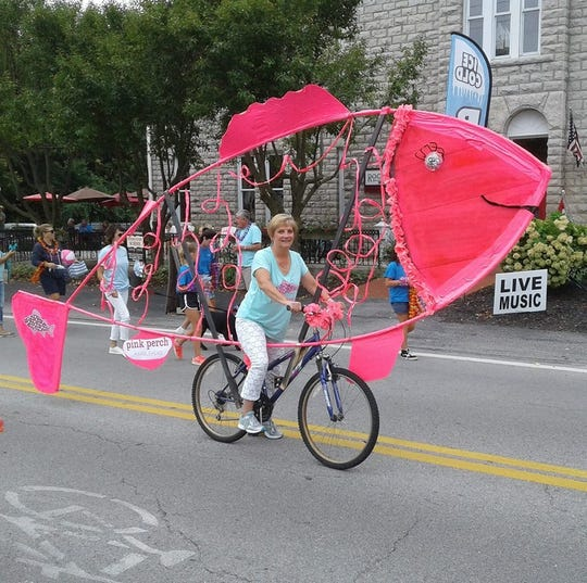The pink perch has been a memorable entry in the festival parade.
