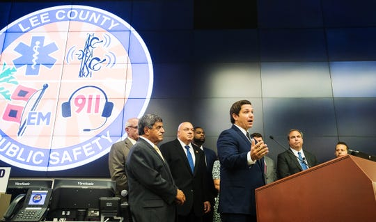 Gov. Ron DeSantis announced more federal Hurricane Irma related funding for Lee County and other local municipalities at the Lee County Emergency Operations Center on Monday August 19, 2019.