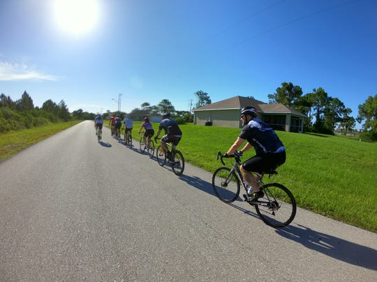 The Caloosa Riders Bicycling Club sets out from the Bagel Factory at the Del Prado Extension in the Cape's northeast section with several different paces and route lengths between approximately 35 and 40 miles.