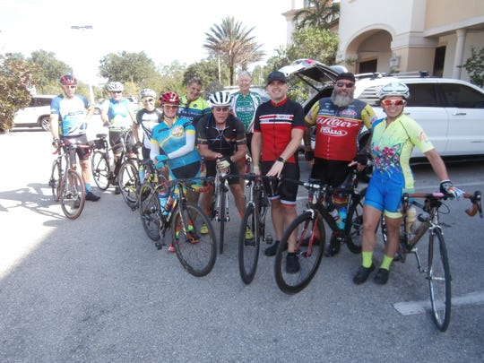 Some of the approximately 20 Caloosa Riders Bicycling Club members that took part in a recent Bagel Factory ride.