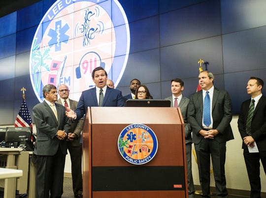 Gov. Ron DeSantis announced more federal Hurricane Irma related funding for Lee County and other local municipalities at the Lee County Emergency Operations Center on Minday August 19, 2019.