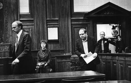 Raymond L. Matzker, entered court in 1982 where he was sentenced to 10 years in prison on three felony counts of enticing male children for immoral purposes and one count of second-degree sexual assault. He was once director of the Winnebago Mental Health Institute, under the name of William T. Boerum.