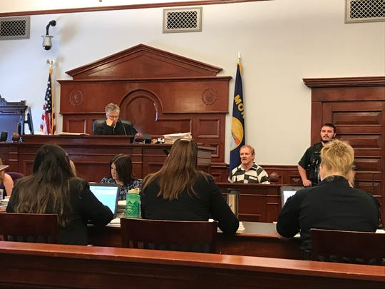 William Edward Miller Jr. testifies during his bail reduction hearing Monday, Aug. 19, 2019, before Cascade County District Judge Elizabeth Best.