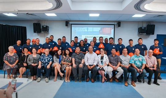 Guam Community College, in partnership with the Cabras Marine Corporation and Guam Department of Labor, has completed a Ship Repair Transportation Bootcamp, in which 21 participants completed the 12-week boot camp and were hired by Cabras Marine as apprentices.