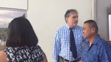 William Mantanona accused of jury tampering exits the District Court of Guam on Aug. 19. 2019.